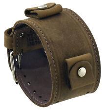 Nemesis LBB-CS Wide Chestnut Brown Leather Cuff Wrist Watch Band