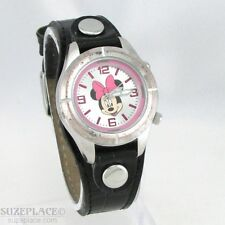 DISNEY MINNIE MOUSE LADIES WATCH PINK DIAL BLACK LEATHER BAND LIGHT NEW BATTERY