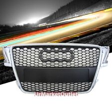Silver Frame/Black Honeycomb Mesh RS Style Front Grille For Audi 07-11 A5 8T