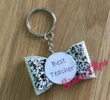 Handmade best teacher keyring / bag charm gift black silver