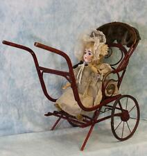 German automaton Bisque Doll in Bent wood buggy waves hands,turns head All ORIG!