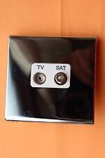 Deta 8693CHW Screwless Polished Chrome White Inserts Socket TV & Satellite/Sky