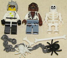 LEGO LOT OF 3 HALLOWEEN MINIFIGURES EVIL CRAZY SCIENTIST SKELETON WEREWOLF MORE