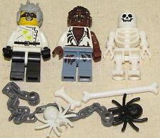LEGO LOT OF 3 HALLOWEEN MINIFIGURES EVIL CRAZY SCIENTIST SKELETON WEREWOLF MORE