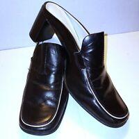 Franco Sarto Women's 8 M Black Shoes Leather Mules Block Heel Square Toe Slip On
