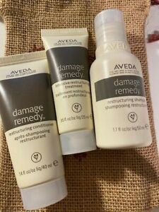 AVEDA 3 travel size Damage Remedy GIFT PACK shampoo conditioner repair BAG