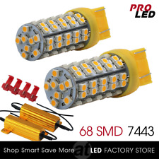 7443/7440 Amber Yellow Front Turn Signal Blinker LED Lights Bulbs+ Load Resistor