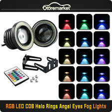 "3"" Inch RGB COB LED Fog Light Projector Lamp White Halo Angel Eye Ring DRL Bulb"