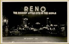 VTG Reno Biggest Little City in World at Night Nevada NV RPPC Photo Postcard A9