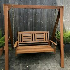 Garden Solid Wood Porch Swing With Stand Hanging 2 Person Seater Porch Backyard