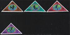Kenya SC225-228 1982 World Cup Soccer-Triangles w/VariousSoccerPlayersOnWorldMap