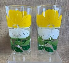 Vintage 10 oz Yellow & White Flowers w/ Green Stems Drinking Glasses - Set of 2