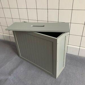 Large Grey Slimline Bamboo Wood Bathroom Toilet Roll Tissue Storage Cabinet Unit