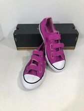 Converse All Star 3V OX Girl Sz 2 Youth Magenta Pink Strap Sneaker Shoes X17-944