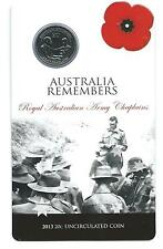 2013 AUSTRALIA REMEMBERS (ARMY CHAPLAINS)UNCIRCULATED 20  CENT COIN & CARD