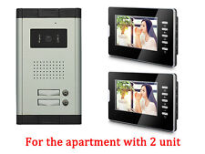 Apartment 2 Units Wired Video Door Phone Audio Visual Entry Intercom System 1V2