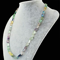 Best Quality 200.50 Cts Natural Multicolor Fluorite Untreated Beads Necklace