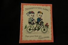 Vintage Bicycle Built For Two & Panda Bear Birthday Card 1950S By Buzza