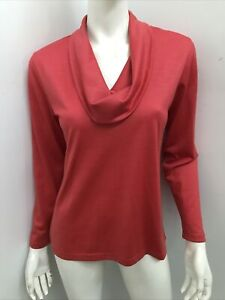 New! HEDRENA merino wool melon cowlneck 3/4 sleeve knit top ~ sz S 10