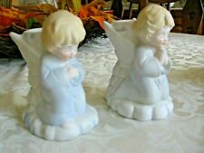 Vtg Porcelain Praying Angel Candle Holders Christmas Around the World Pastel Blu