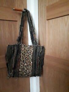 Boho/Hippie Canvas Cotton, Lace And Sequin Shoulder Tote Bag.