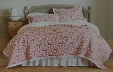 Simply Shabby Chic Red Pink White Rose Ruffled Full/Queen Quilt + Shams ~ NEW