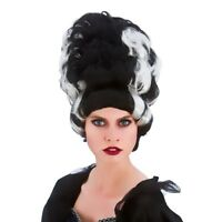 Adult Wicked Queen Black White Wig Fancy Dress Bride Of Frankenstein Halloween