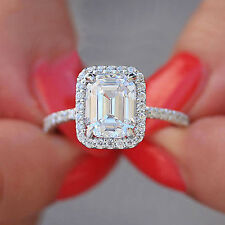 14K SOLID WHITE GOLD EMERALD SIMULATED DIAMOND ENGAGEMENT RING BRIDAL HALO 3.50