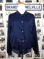 Brandy Melville navy Shiny blue dennis button up windbreaker bomber jacket NWT