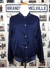 Brandy Melville navy Shiny blue dennis button up windbreaker bomber jacket NWT