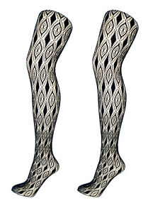 Diamond Lacy Patterned Tights S/M & M/L Black