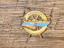 """Vintage Ship's Wheel w Boat Pin Broach Gold Plated .5"""""""