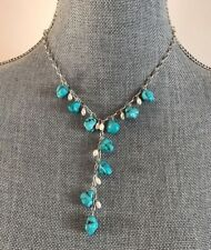 Turquoise gemstones, freshwater pearls Designer pendant necklace 925 SS 18""