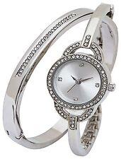 Silver Dial Silver Elegant Spirit Ladie's Stone Watch & Bracelet aspl101