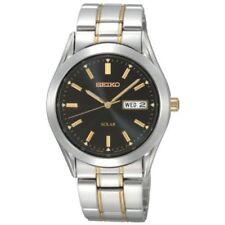 New Seiko Men's Two Tone Solar Black Dial Watch SNE047
