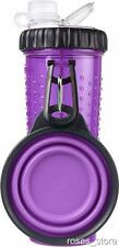 NEW Purple Dual Chambered 16oz Dog Water Bottle & Snack Treat Container By Dexas