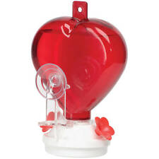 Audubon 12 oz. RED HEART-SHAPED WINDOW MOUNT HUMMINGBIRD FEEDER, Made in the USA