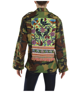 NWD $225 TRICIA FIX FREE PEOPLE ANTHROPOLOGIE VINTAGE CAMO MILITARY JACKET XS .