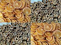 20x Orange Slices and 10x Cinnamon 8cm stick Wreath dried scented decoration