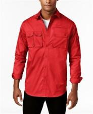 Sean John 100% Cotton Solid Big Tall Flight Shirt Red Mens Size 4XLT New
