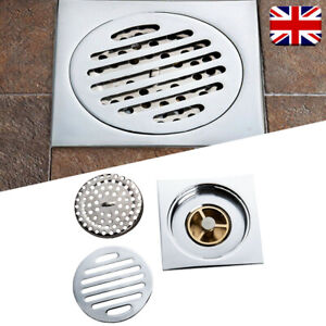 Floor Drain Brass Square Wet Room Kitchen Bathroom Shower Waste Trap Plumbing UK