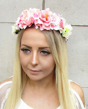 Blush Light Pink White Hydrangea Rose Flower Headband Hair Crown Garland 1559