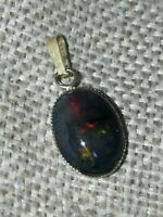 Natural solid black rainbow precious fire Opal 9ct gold pendant only no necklace