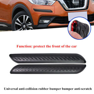 2PCS PVC Black Universal Car SUV Front Anti-collision Rubber Bumper Strip Trims