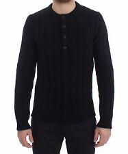 Nuovo Dolce & Gabbana Maglione Cashmere Nero Henley Maglia Uomo S.IT52 / XL