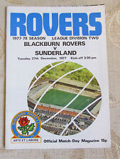 The Official Match Day - Magazine Of Blackburn Rovers & Sunderland 1977