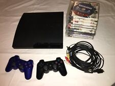Sony PS3 Slim CECH-3001A 160GB Black Console 2 Controllers With 10 Games Bundle