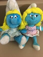 """New listing 1981 And 1983 10"""" Smurfette Smurf Peyo Wallace Berrie Stuffed Plush"""