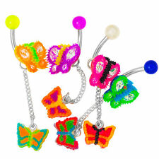 Butterfly navel Belly Ring wholesale lot 4 Pack Silicone uv Dangle 316L Steel