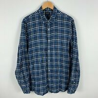 Sportscraft Linen Button Up Shirt Mens Medium Blue Plaid Long Sleeve Collared